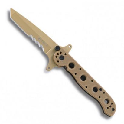 "Canivete CRKT M16-13DSFG semi-serrilhada, cor deserto, ponta Tanto, ""flip"" duplo sistema AutoLawks"